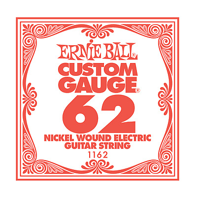 6 X Ernie Ball Nickel Wound Single Electric Guitar String .062 Gauge PACK PO1162