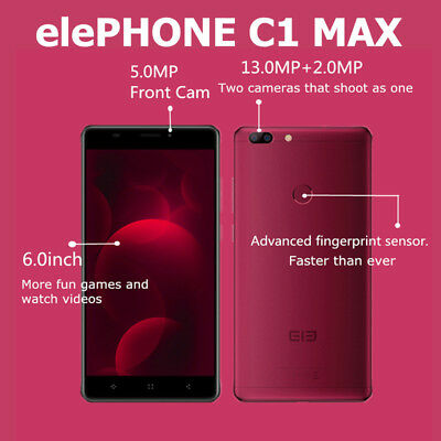 "Neuf 6"" 4Core 32GB 13MP Elephone C1 Max 4G Android7.0 Téléphone Dual SIM Mobile"