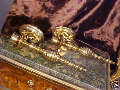 LARGE DETAILED Vintage Twisted Pair Brass Sconces ORNATE & BEAUTIFUL Made India!