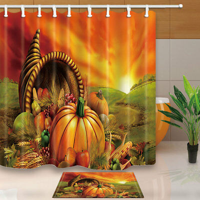 Happy Thanksgiving Day Pumpkin Bathroom Fabric Shower Curtain 180x180cm-71inch