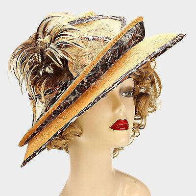 Womens Animal Print Feather Sinamay Hat Wedding Church Derby - USA Seller
