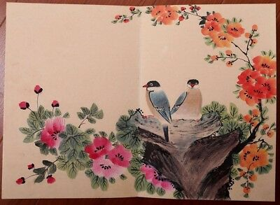 Exquisite Rare Large Chinese Hand Painting Flowers Birds Book Marks MaMei KK465