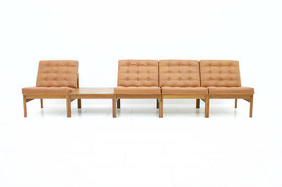 Modular Leather Lounge Chairs & Table von Torben Lind & Gjerløv France & Son