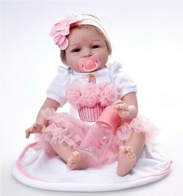 "Happy Christmas Reborn Baby Dolls 22"" Newborn Girl Soft Silicone Real Life Dolls"