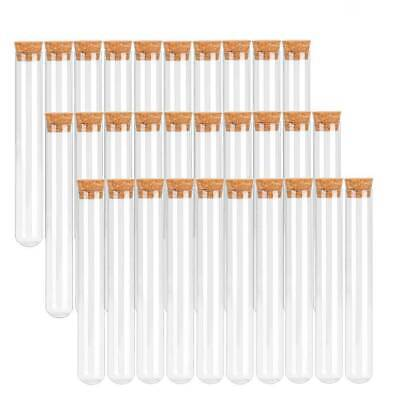 100XPlastic Test Tube With Cork Stopper Clear Lab Experiment Favor Gift Tube20ML