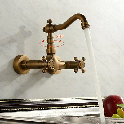Bathroom Basin Sink Faucet Wall Mount Dual Cross Knobs Mixer Tap,Antique Brass