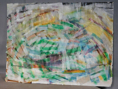 Vintage Mid Century Modern American Painting Torn Paper Collage Dorothy Wells