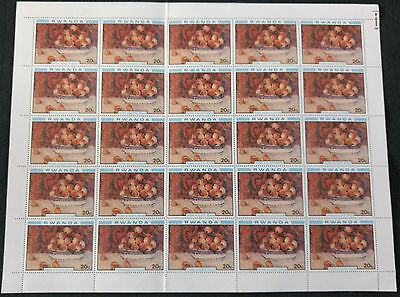 Rwanda 1980, 20c Paintings, Renoir MNH Complete Full Sheet #V4128