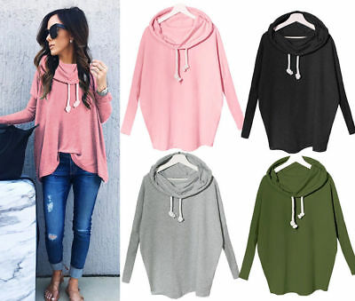 US Fashion Women Casual Long Sleeve Hoodie Jumper Pullover Sweatshirt Tops Shirt