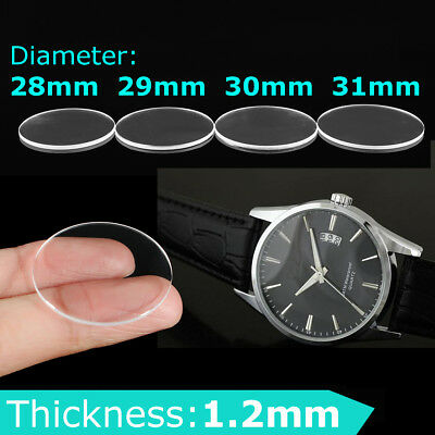 1Pc 1.2mm Thick 28mm-31mm Clear Flat Sapphire Glass Watch Crystal Replacement