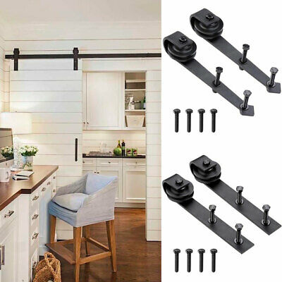 2x Steel Sliding Barn Rollers Replacement for Wood Door Hardware Track Bracket