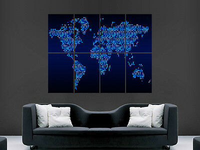 World Map Poster Digital Style Look Art Wall Picture Poster  Giant