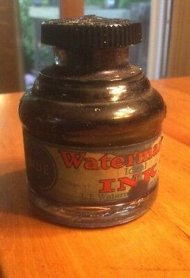 Rare Vintage Waterman' Ideal Ink Jar, Blue Ink, Empty
