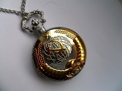 Unusual Gold and Silver Faced USSR / RUSSIAN  Necklace Watch