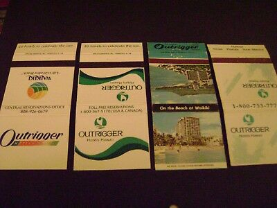 """Lot of 4 different match covers, """"OUTRIGGER HOTEL"""", Waikiki, Hawaii."""