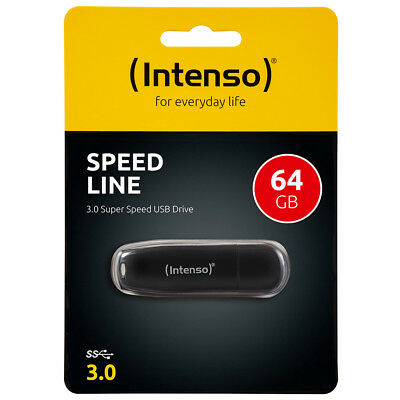 kQ Intenso Speed Line 64 GB USB Stick USB 3.0 SUPERSPEED schwarz