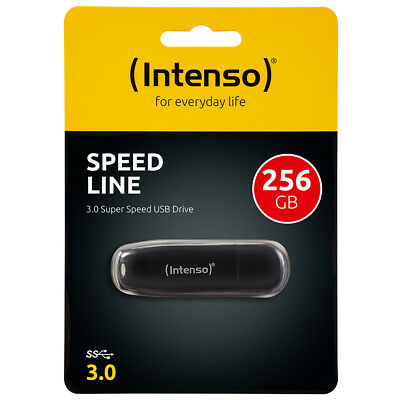 kQ Intenso Speed Line 256 GB USB Stick USB 3.0 SUPERSPEED schwarz