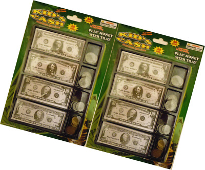 Play Money Set W/bills & Coins In Tray (2 Pack)