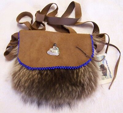 Hand Made Beaded Raccoon Fur Pouch Rendezvous Black Powder Mountain Man 1