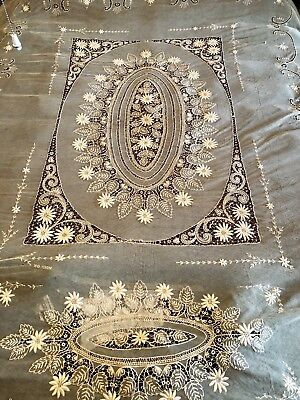 Antique French Tambour Net Lace Coverlet  Bedspread