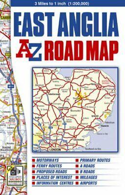 East Anglia Road Map (A-Z Road Maps... by Geographers A-Z Map  Sheet map, folded