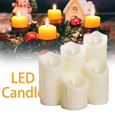 Flickering Flameless LED Candles Tea Light Ivory Dripping Wax w/ Remote Control