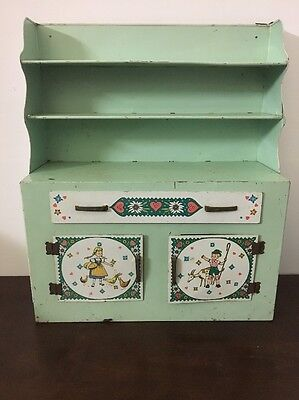 Vintage Wolverine Pink Tin Metal Kitchen Hutch Cabinet Cupboard Toy