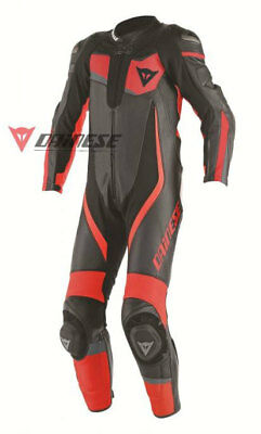 Dainese Veloster 1-pc Perforated Mens Suit Black/Red/Red