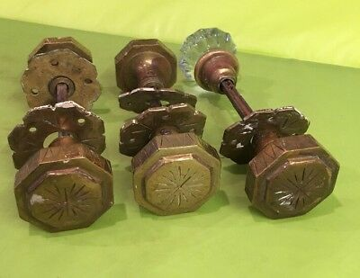 Large 3 Pairs Antique Cast Brass Art Deco French Door Knobs Octagonal 1 Glass