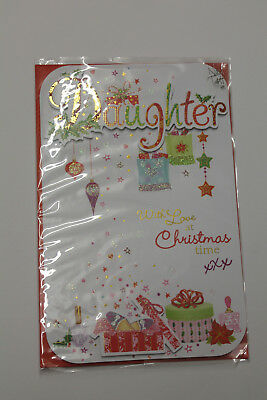 Glittered Noel Tatt Christmas Card Daughter with Love at Christmas Time