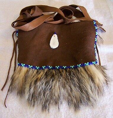 Hand Made Beaded Badger Fur Pouch Rendezvous Black Powder Mountain Man 2