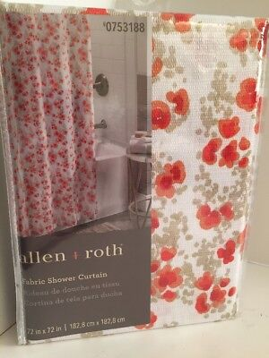 Allen Roth ALEXIS Floral Fabric Shower Curtain Coral Red Orange On White NEW