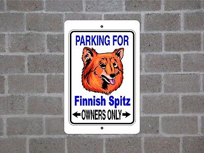 Finnish Spitz dog - parking owners guard yard fence aluminum metal sign plaque