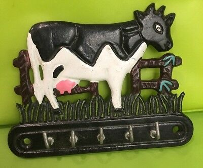 "Cast Iron COW , Key Rack RANCH Hook FARM . 5 Hooks 5 1/4 X 4 "" Rare"
