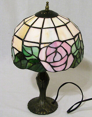 Dale Tiffany Style Stained Glass Lamp W/ Floral Design Pink Flowers Green Leaves