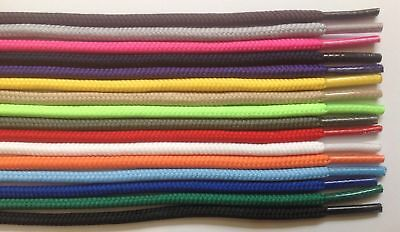 "Round Athletic Shoelaces 3/16"" Width in 36"" 45"" 54"" Lengths 14 Colors to Choose"