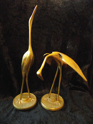 Pair of Retro Vintage Brass Storks / Bird Ornaments