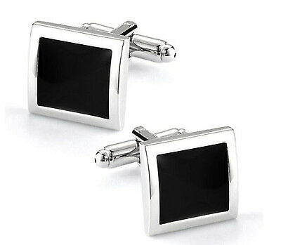 Plain Black and Silver Stainless Steel Pair of Cuff Links with Box (cufflinks)