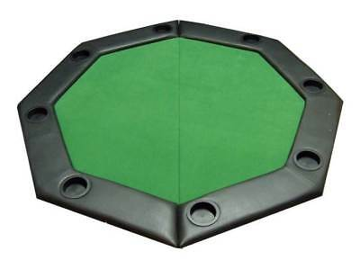 Padded Octagon Folding Poker Table Top w Cup Holders in Green [ID 59345]