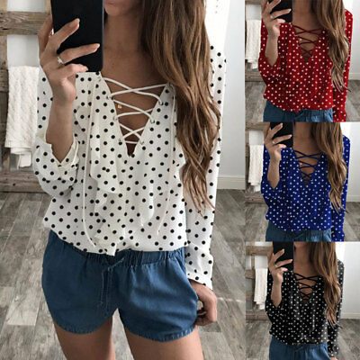 New Womens Ladies Long Sleeve Loose Blouse Summer V Neck Casual Shirt Tops