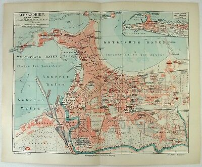 Original 1905 City Map of Alexandria, Egypt by Meyers.