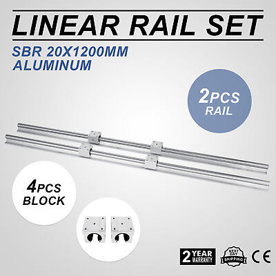 Linear Rail 2XSBR20-1200mm Rails 4XSBR20UU Blocks CNC Set Aluminium Lathes