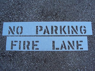 """4"""" NO PARKING and FIRE LANE Parking Lot Stencils for Curb 1/16"""", 60 Mil LDPE"""