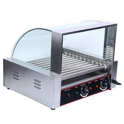 Commercial Hot Dog Machine 11 Roller 30 Hotdog Grill Cooker Warmer w/ Cover
