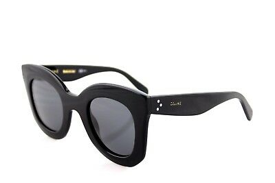 NEW Authentic CELINE MARTA Ladies Glossy Black Grey Sunglasses CL 41093/S 807 BN