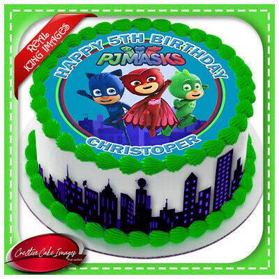 PJ Masks Edible Icing Image Cake Topper Birthday Party Personalised Decoration