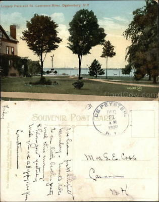 1909 Ogdensburg,NY Library Park and St. Lawrence River St. Lawrence County