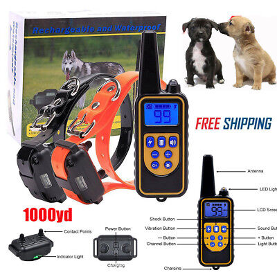 Rechargeable LCD Electric Remote Dog Training Shock Collar 1000 Yard Waterproof
