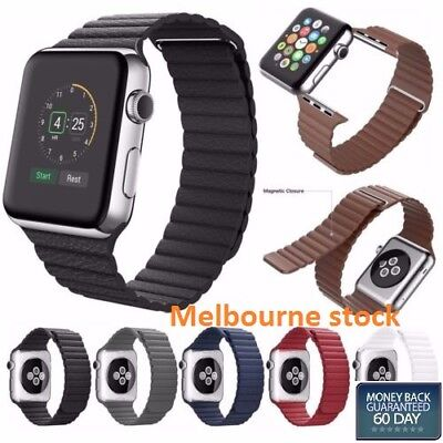 Geniune Magnetic Leather Loop Strap Watch Band for Apple Watch Series 3 / 2 / 1