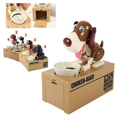Robotic Hungry Dog Puppy Bank Coin Eating Save Saving Canine Money Box Gift